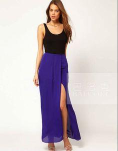 Hot Sale Elegant Sexy Asymmetrical Slit Maxi Skirts For Womens Chiffon Long Skirts White,Black,Blue,Red + Free Shipping