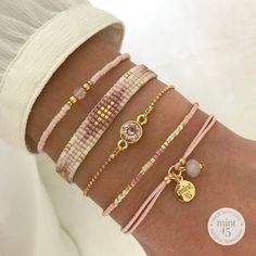 Dreaming of spring with this Vintage Pink bracelet set 😍 Shop with discoun Woven Bracelets, Diamond Bracelets, Ankle Bracelets, Sterling Silver Bracelets, Fashion Bracelets, Jewelry Bracelets, Gold Bangles, Fashion Jewelry, Embroidery Bracelets