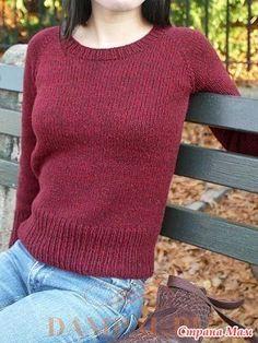 Простой пуловер реглан на каждый день дает возможность освоить вязание таких фасонов, начиная от горловины. Размеры: XS (S, M, L, 1X, 2X, 3X)