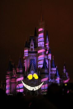 Disney World's Cinderella Castle lit up like the Cheshire Cat from Alice in Wonderland