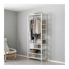 IKEA - ELVARLI, 1 element, Je kan deze open opbergoplossing altijd naar behoefte aanpassen of aanvullen. Misschien is de voorgestelde combinatie geschikt, anders kan je altijd een eigen maatwerkcombinatie samenstellen.Verstelbare planken en kledingroede om de ruimte eenvoudig aan je behoeften aan te passen.