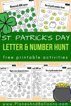 Patrick's Day letter and number recognition activities Fun St. Patrick's day letter and number worksheets for preschool and kindergarten. Letter recognition and number recognition free printable activities. Numbers Preschool, Preschool Literacy, Free Preschool, Preschool Printables, Homeschool Kindergarten, Preschool Books, Literacy Centers, St Patrick Day Activities, Letter Activities