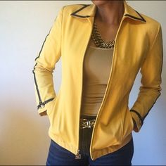 St John Sport Blazer Jacket Yellow with Navy blue outline Blazer Jacket, shoulder pads, like New in great condition! The material is stretchy with 95% cotton and 4%Spandex. St. John Jackets & Coats Blazers