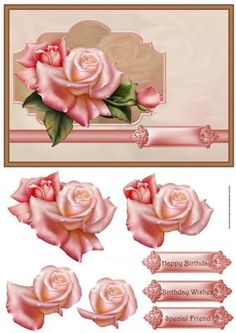 Pink rose card with decoupage on Craftsuprint designed by Angela Wake - Pink rose card with decoupage and sentiment tags - Now available for download!