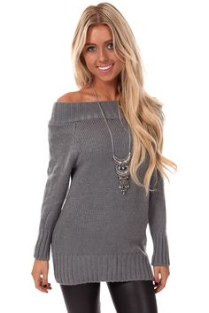 Lime Lush Boutique - Grey Off Shoulder Oversized Sweater, $39.99 (http://www.limelush.com/grey-off-shoulder-oversized-sweater/) #queen #day #us #follow #girl #dress #princess #look #lookbook #like #beautiful #cute #sexy #iphonesia