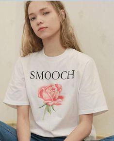 Letter SMOOCH Rose Floral Print T-shirt Short Sleeve Tops