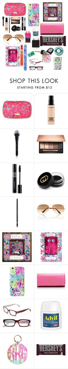 """What's in my purse. (Mostly Lilly)"" by kaytlyneasby ❤ liked on Polyvore featuring Lilly Pulitzer, MAC Cosmetics, Marc Jacobs, Clarins, Christian Dior, Gucci, Ray-Ban, Tory Burch, Goody and Hershey's"