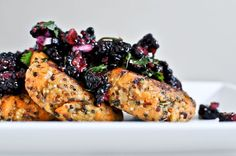 Sweet Potato Quinoa Cakes with Blackberry Salsa