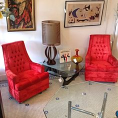 #HollywoodRegency #Red #Velveteen #HighBack #LoungeChairs-Info @Link Below.