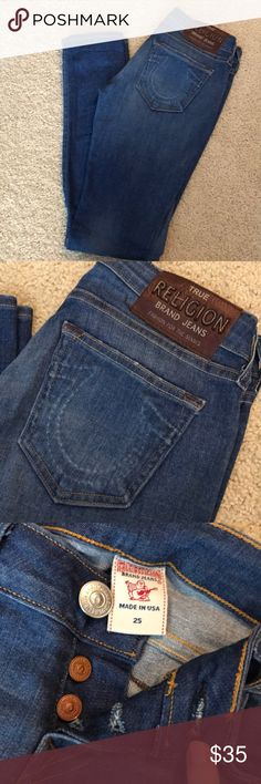 True Religion Jeans I LOVE this pair of True Religion Jeans. Unlike most pairs, these are a lot more stretchy and not as flashy. They're super comfy and look great with everything. The wash is still pretty dark but can look light depending on the top they are paired with :-) True Religion Jeans Skinny