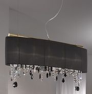 This stunning Paralume chandelier on a 24ct gold plate frame wrapped in black silk taffeta shade with stunning coloured Swarovski crystal elements. An absolutely breathtaking light. Crystal colours can be chosen to suit your decor