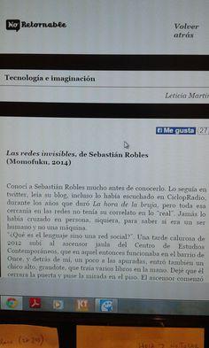 Título: Tecnología e imaginación   Autor: Sebastián Robles   Revista: No-Retornable   Reseñista: Leticia Martin