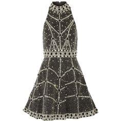Alice + Olivia Hollie embellished silk mini dress (5,625 SAR) ❤ liked on Polyvore featuring dresses, alice + olivia, black, a line cocktail dress, silk dress, sequin dress, short dresses and silk mini dress