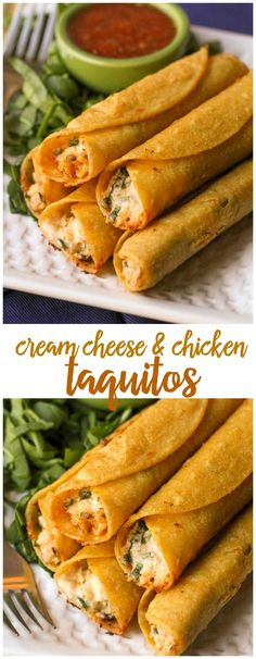 Cream Cheese and Chicken Taquitos - these are so good and easy to make! They're the perfect dinner recipe to try out.