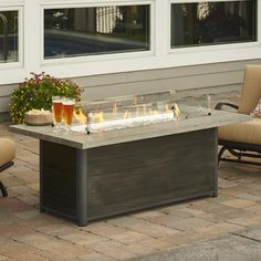 The Outdoor GreatRoom Company Cedar Ridge Linear Natural Gas Fire Pit Table with Crystal Fire Burner - Grey Cedar - Ships As Propane With Conversion Fittings - Key Valve Control : BBQGuys Fire Pit Chairs, Gas Fire Pit Table, Fire Pit Seating, Seating Areas, Porches, Natural Gas Fire Pit, Fire Pit Wall, Fire Pit Lighting, Easy Fire Pit