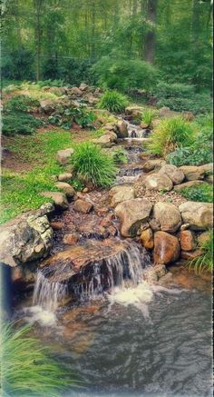 outdoor garden fountains for sale Backyard Stream, Backyard Water Feature, Ponds Backyard, Backyard Waterfalls, Pond Landscaping, Landscaping With Rocks, Country Landscaping, Garden Waterfall, Natural Pond