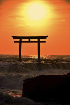 Torii gate of Oarai Isosaki shrine, Ibaraki, Japan