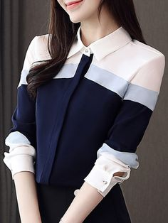 Turn Down Collar Color Block Short Sleeve Blouse Shop the latest women's clothes and keep your style game strong with the freshest threads landing daily. Stylish Dresses, Stylish Outfits, Fashion Outfits, Korean Fashion, Trendy Fashion, Cheap Fashion, Designs For Dresses, Korean Outfits, Short Sleeve Blouse