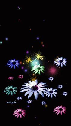 ღ Flower Animation ღ Gif Animé, Animated Gif, Beautiful Gif, Beautiful Flowers, Colorful Flowers, Flower Wallpaper, Wallpaper Backgrounds, Gif Bonito, Good Night Gif