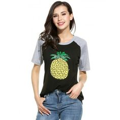 Women Casual Round Neck Raglan Short Sleeve Contrast Color Patchwork Pineapple Print T-Shirt Tees
