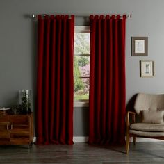 Aurora Home Tab Top Thermal Insulated Blackout Curtain Panel Pair (Cardinal Red), Size 52 x 84 (Polyester, Solid) Home Curtains, Custom Drapes, Red Curtains, House Styles, Insulated Curtains, Curtains, Thick Curtains, Curtain Styles, Insulated Blackout Curtains