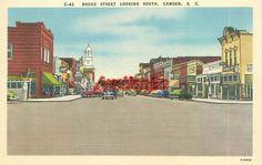 Camden South Carolina Broad Street South Vintage Linen Postcard SC 1601682