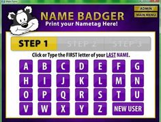 Name Badger software - VBS registration and on-the-spot nametag printing. Worth a look-see! Menu Printing, Vacation Bible School, Name Tags, Badger, Program Design, Sunday School, Software, Names, Lettering