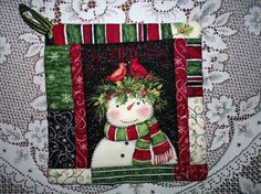 Let it Snow     Holiday Potholders With by ShafayeStitches on Etsy