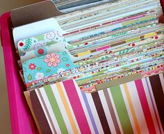 """How to store your scrap papers """"BRILLIANT"""" !!! Save your paper by color and patterns ! LOVE THIS !!"""
