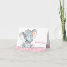 Girl Elephant Baby Shower Thank You Cards Baby Shower Thank You Cards, Elephant Baby, Place Cards, Place Card Holders, Baby Elephant