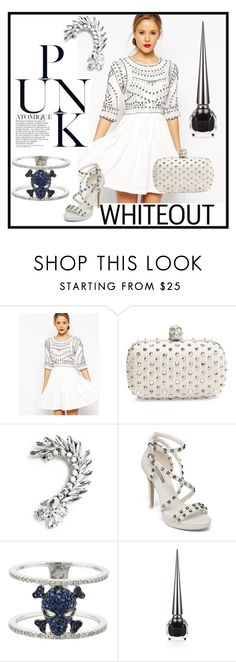 """""""Punk Chic Whiteout"""" by atmayfair ❤ liked on Polyvore featuring mode, ASOS, Alexander McQueen, MANGO, BCBGeneration et Christian Louboutin"""