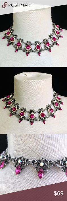 Dramatic Vintage Crystal Statement Necklace This is an old and fabulous piece.  The fuschia crystals are set off with AB accents and set into darkened carved silver tone metal.   I do not know if this is old silver or just looks like.  I suspect the latter because I cannot find a mark or stamp anywhere.    This looks and feels like a very expensive necklace.  Bundle to get more jewelry for less money. Shipping is quick, carefully packaged and FREE for 3+ bundled items!    Watch my closet for…
