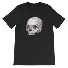 Human Skull Unisex T-Shirt Human Skull, Cool Tees, Fabric Weights, Cool Designs, Unisex, Mens Tops, T Shirt, Quality Printing, Bella Canvas
