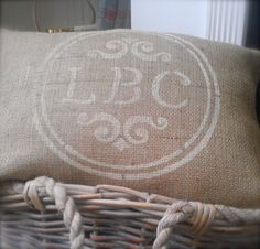 MONOGRAMMED PERSONALIZED BURLAP Pillow with Jute Trim 12x18 - Shabby Chic, French Country Home Decor- Rustic Vintage inspired Wedding Decor