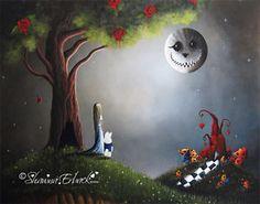 shawna erback   Alice in Wonderland Art Print erback Cheshire Cat Moon 8x10 Fairy Tale ...