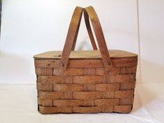 Vintage Antique Hand Made Woven Picnic Basket Handles Weaved Gathering Primitive #NaivePrimitive