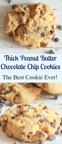Thick Peanut Butter Chocolate Chip Cookies, so easy and I am sure the best you…