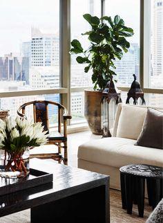 Living Room in Uptown World by Thomas Hamel & Associates on Asian Interior Design, Interior Design Living Room, Interior And Exterior, Exterior Design, Custom Lamp Shades, Design Salon, Modern Asian, Art Furniture, Beautiful Interiors