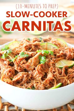 It's time for a taco night upgrade! Budget-friendly Slow-Cooker Carnitas are juicy, full of flavor, and perfect for filling up your Pulled Pork Tacos. Made with a simple spice rub, it all comes together with incredible ease and takes 10 minutes to prep! An easy recipe for weeknight dinners and game day! #pulledpork #carnitas #pulledporktacos #tacos #pork #dinner #slowcooker #crockpot #dinnerideas