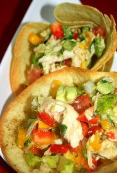 tortilla bowls with mango chicken salad. loved it!