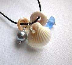 Seashells Sea Glass Treasures Necklace by GardenLeafDesign on Etsy, $20.00