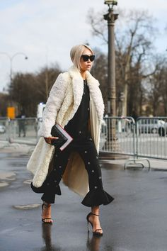 What The Street Style Stars Wore To Chanel's #FrontRowOnly Show #refinery29 http://www.refinery29.com/2016/03/105548/chanel-street-style-paris-fall-winter-2016#slide-32 Say yes to ruffled pants....