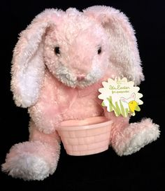 Commonwealth EASTER BUNNY 2003 Pink Rabbit w/Candy Gift Basket Plush Stuffed Toy #CommonwealthToys