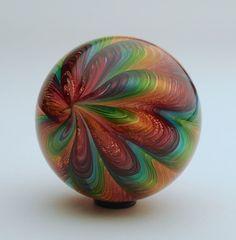 "Marbles: Art Glass Wald Glass aventurine lutz 1.92"" NORTHERN BEAUTY marble  #Waldglass #Contemporary"