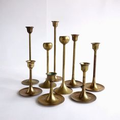 Vintage Brass Tulip Candlesticks Graduated Brass by BeeHavenHome