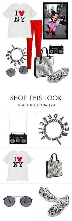 """""""I Mickey NY"""" by princesschandler ❤ liked on Polyvore featuring plastique*, Eddie Borgo, Disney, BLANK and American Apparel"""