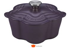 Amethyst Flower Cocotte from Le Creuset --  Our enameled cast iron Flower Cocotte puts a bright and happy spin on your favorite recipes. With a capacity of 2 1/4 quarts, it's the perfect size for a side dish or one-pot meal, and offers all the benefits of cooking with enameled cast iron.
