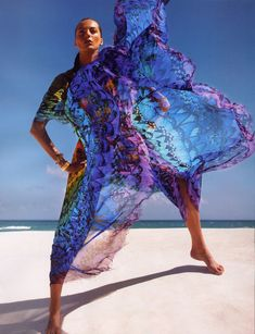 Alexander McQueen rainbow dress S/S 2008, Daria Werbowy by Inez and Vinoodh for Vogue Paris April 2008