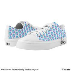 Shop Watercolor Blue Polka Dots White Low-Top Sneakers created by BeeBeeDeigner. Purple Sneakers, Blue Polka Dots, Kids Sneakers, Sneakers Fashion, Fashion Forward, Athletic Shoes, Baby Shoes, Pairs, Purses