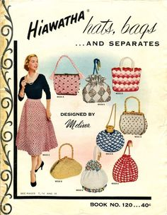 Vintage Hiawatha purse a Vintage Purses, Vintage Bags, Vintage Handbags, Vintage Outfits, Vintage Shoes, Vintage Knitting, Vintage Crochet, Vintage Sewing, Knit Fashion